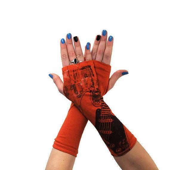 Fingerless Gloves Orange Guitar Upcycled OOAK by ForgottenCotton ...