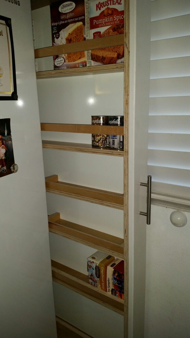 Rolling Storage Unit Next To Refrigerator That My Husband Made For Me!