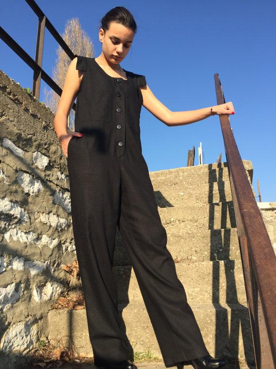 5a9b53a04b1 Linen Overall Black Jumpsuit Linen Jumpsuit Plus Size by MyStyleM