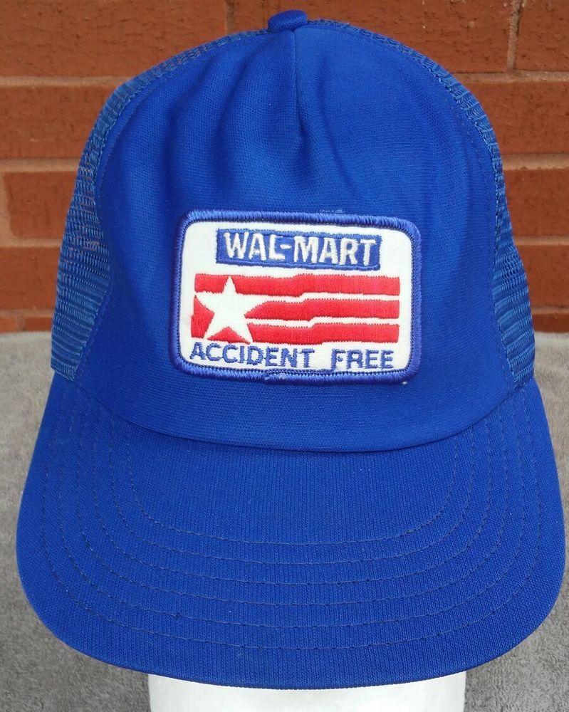 8548c4ec807 Vintage Walmart Hat Cap 70s 80s Patch Accident Free Trucker USA Blue Red  White  MADEINUSA  Trucker