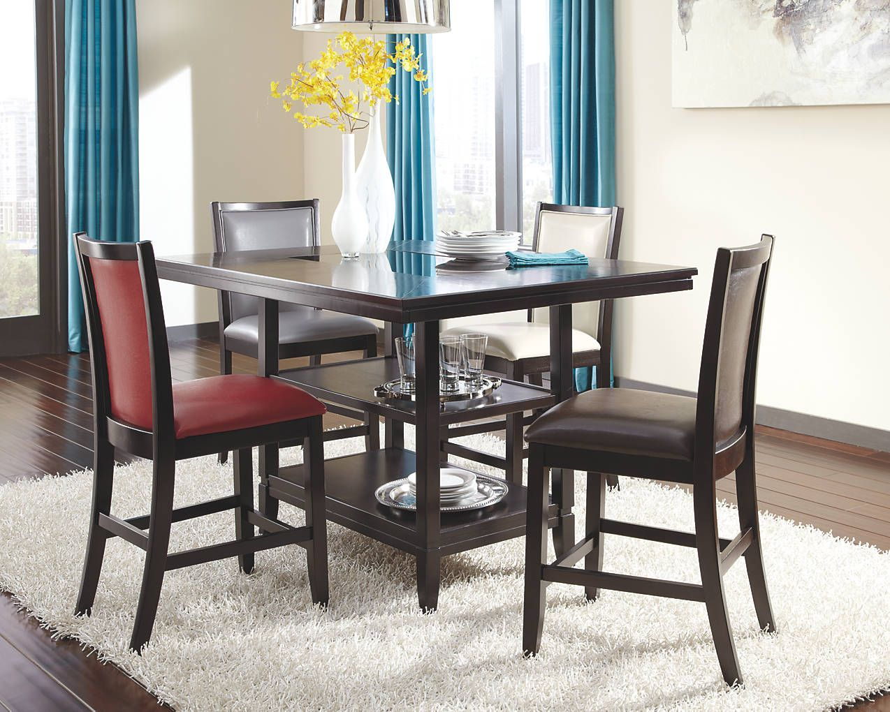 Trishelle counter height table with matching bar chairs in four ...