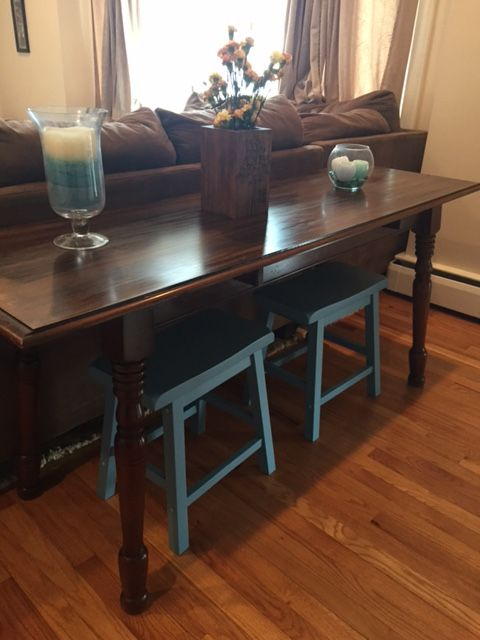 Console Table Sofa Table With Stools Extra Seating Behind