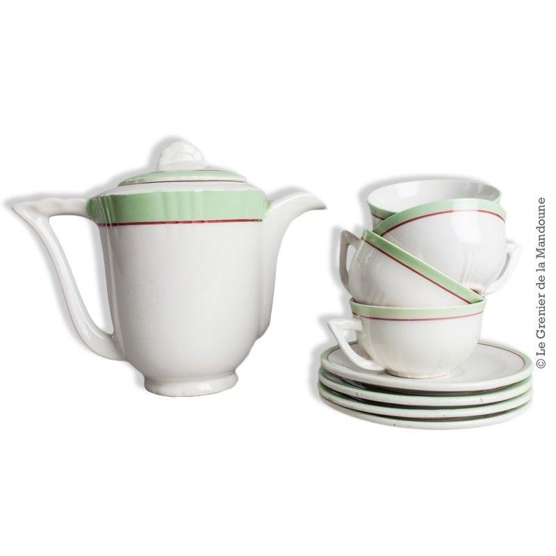 Service à thé, théière avec 4 tasses et sous tasses Moulin des ...