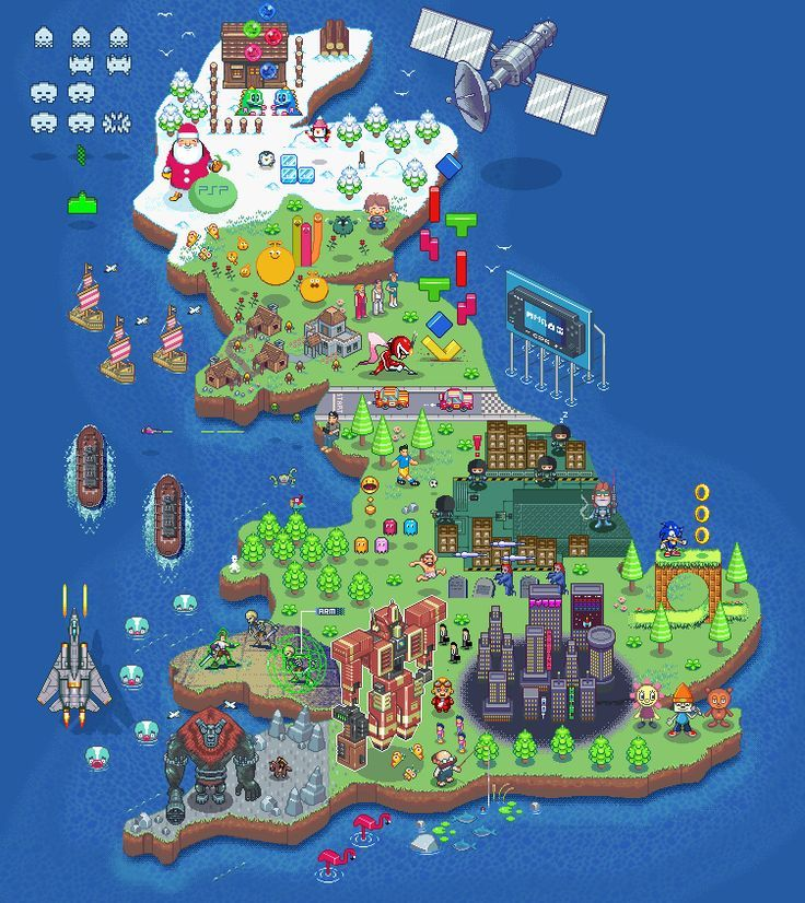 Gorgeous Pixel Art Map Over England, Scotland And Wales