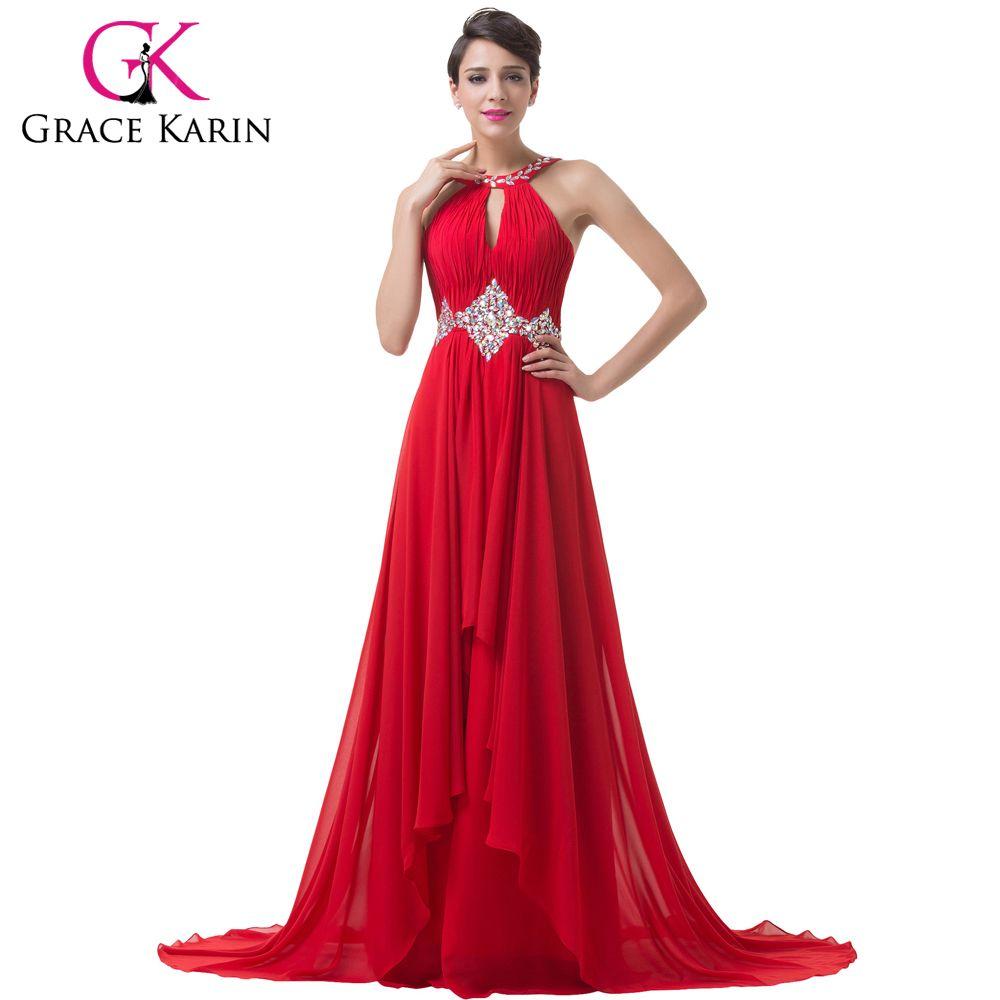 Grace Karin Long Red Evening Dresses, Backless Beaded Chiffon Floor ...