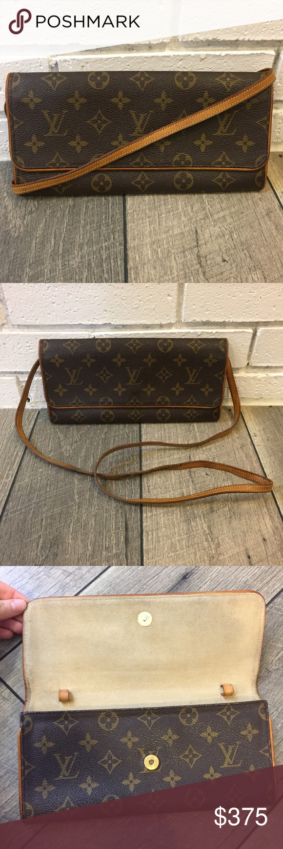 Authentic Louis Vuitton Twin Pochette GM The perfect crossbody! Just the right size to fit all the essentials!     Bag is in great condition overall. Monogram canvas is in excellent condition with no flaws. Vachetta trim has a nice patina and no flaws. Interior has some very light marks and a slight vintage smell. Strap has some dark marks on it but is sturdy. Feel free to ask questions or make a reasonable offer! //No trades. Offers welcome, please use offer button.// Louis Vuitton Bags…
