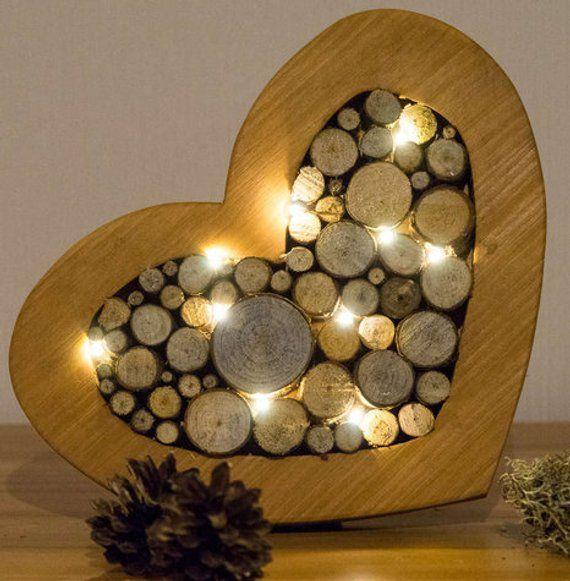 Decorative heart With LED lighting wood Wood Slices Heart Decoration mother'S day wedding gift custom Battery lit Wood Heart #holzscheibendeko