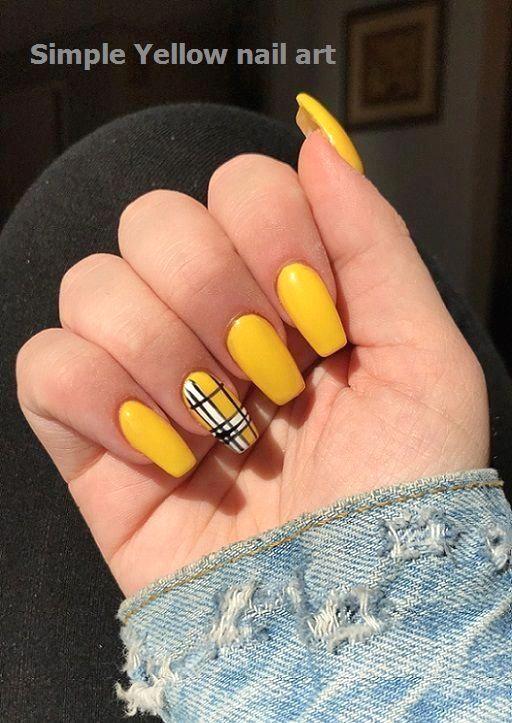 23 Great Yellow Nail Art Designs 2019 1 In 2020 Pretty Acrylic