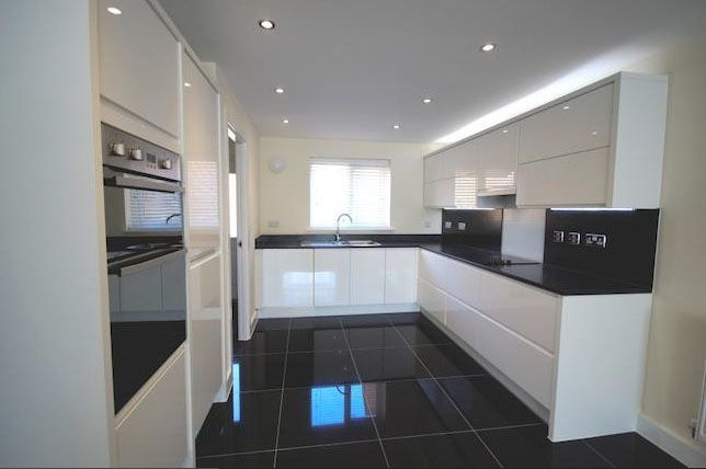 My new kitchen. Symphony \'New York\' high gloss white with a black ...