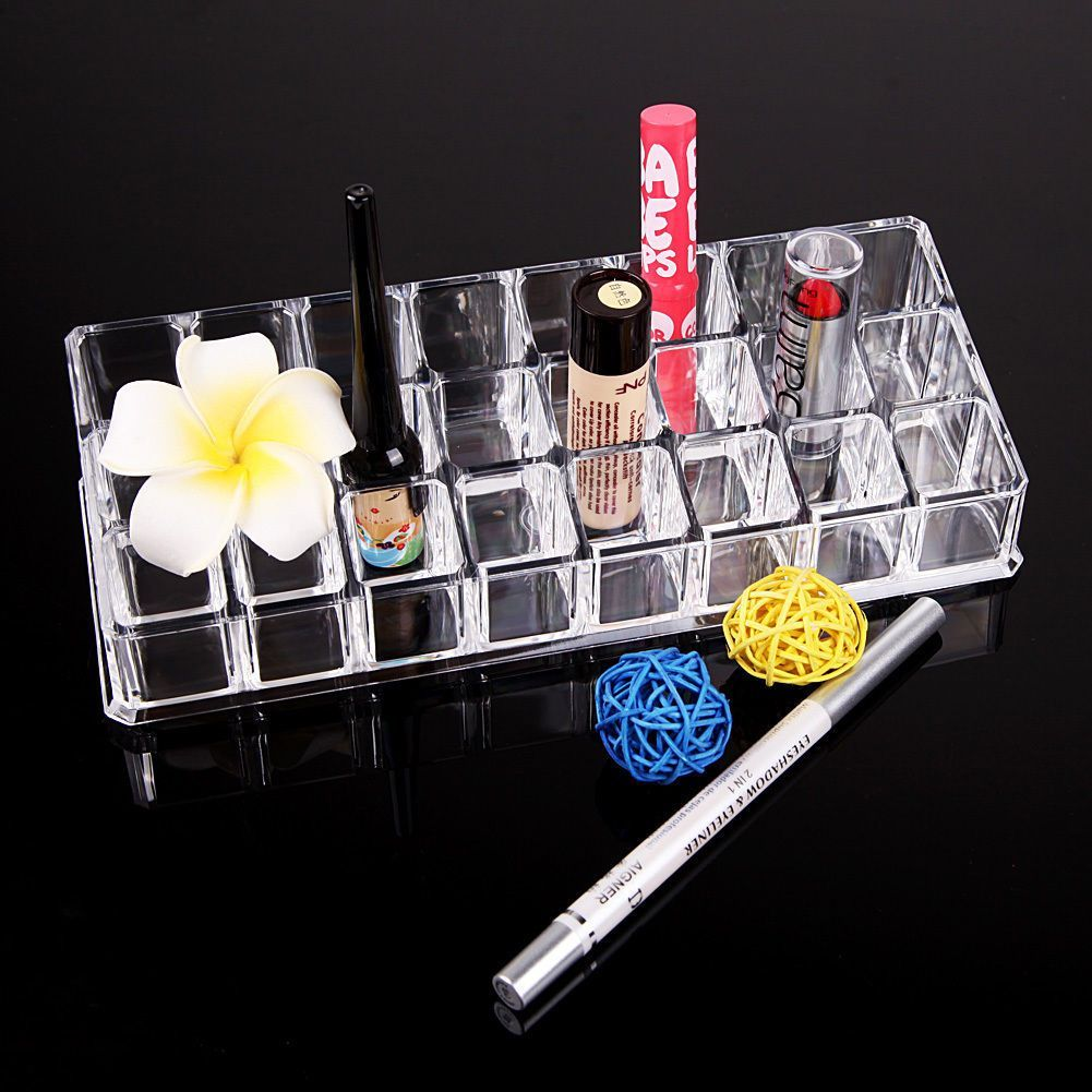 24 Trapezoid Clear Makeup Display Lipstick Stand Case Cosmetic Aigner Eyeliner Eyeshadow Organizer Holder