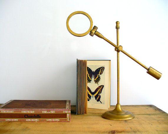 Antique Magnifying Glass On Adjustable Brass By Birdinhandvtg