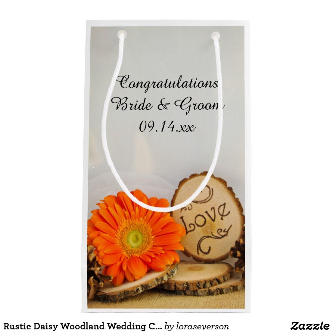 Rustic Daisy Woodland Wedding Congratulations Small Gift Bag   Small ...