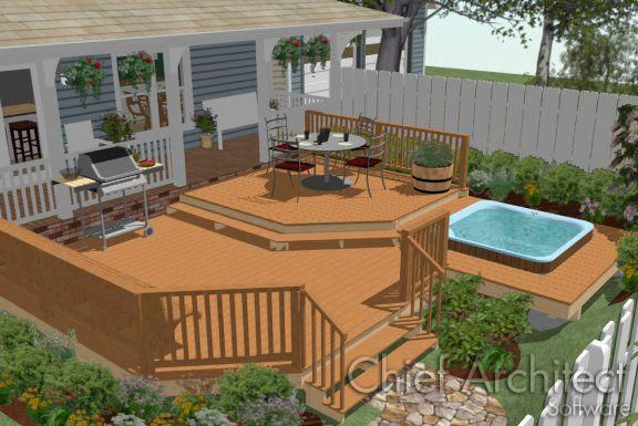 Making a Deck Around a Hot Tub | Chief Architect Knowledge Base #hottubdeck