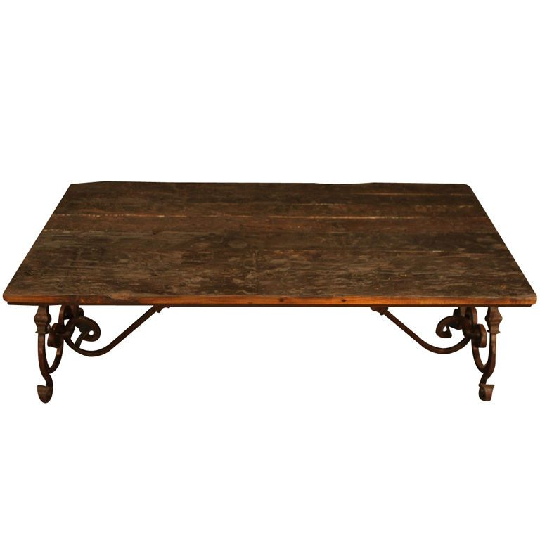 Ornate Wrought Iron & Wood Coffee Table