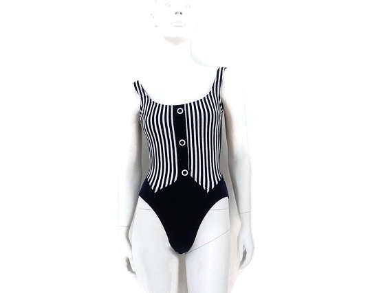 fceb8016d6d NEW Navy Blue Striped Swimsuit by Christine One Piece Bathing Suit Vintage  Swimwear Old Store Dead