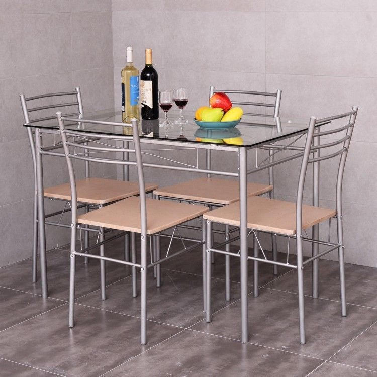 5 Piece Glass Dining Furniture Set Contemporary Kitchen Table Space Saving  Home