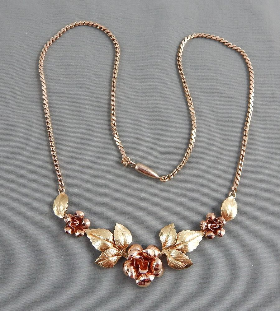 Details About Vintage Signed Krementz Gold Overlay Dimensional Rose Flower  Lavalier Necklace