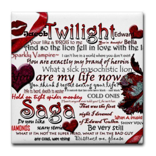 "Twilight Quotes Tile Coaster by CafePress . $12.50. Not for use with abrasive cups and mugs. Dishwasher safe. Ceramic. Four felt pads protect your furniture from scratches. 4.25"" x 4.25"" and 1/6-inch thick. Tile Coaster"