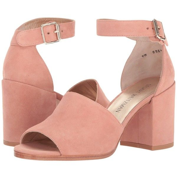 Stuart Weitzman Sohobig (Naked Suede) Women's Shoes ($298) ❤ liked on Polyvore featuring shoes, sandals, block heel shoes, block heel sandals, suede leather shoes, stuart weitzman shoes and leather upper shoes