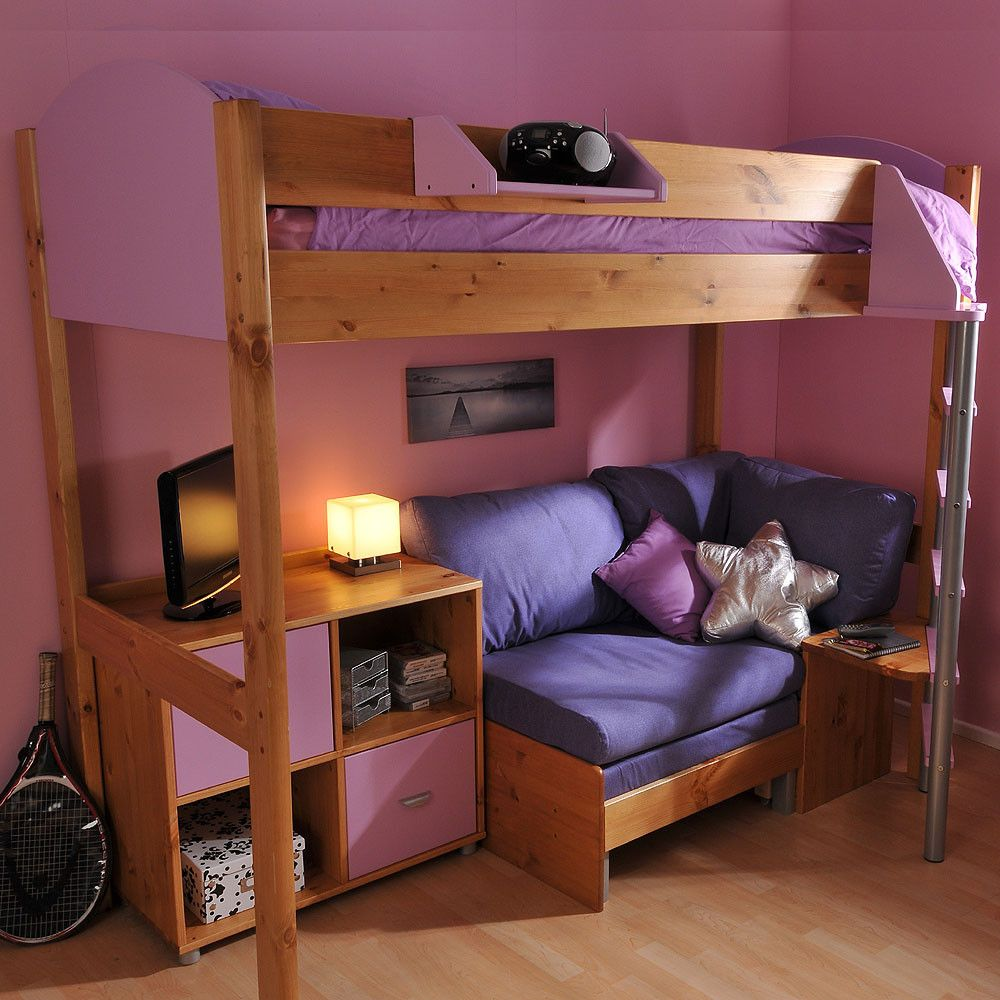 The Stompa Next Generation Casa 8 Loft Bed Offers A Place To Sleep Relax And Provide Storage It Features A Rigid Bedfr Loft Bed With Couch Loft Bed Bunk Beds