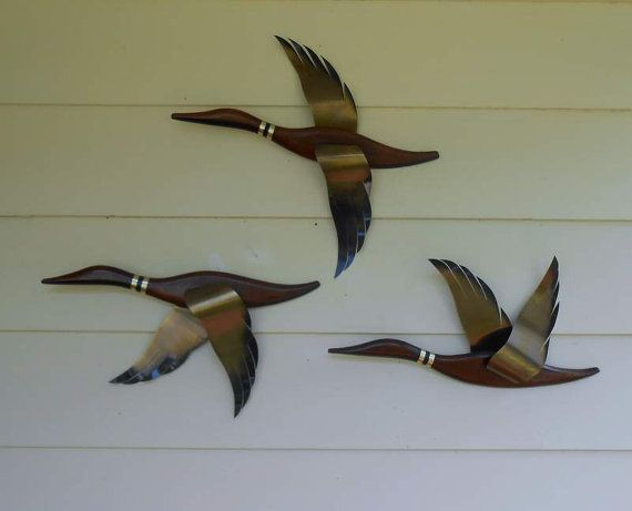 3 Flying Ducks Mid Century Wall Decor Walnut Wood By Alderhillfarm
