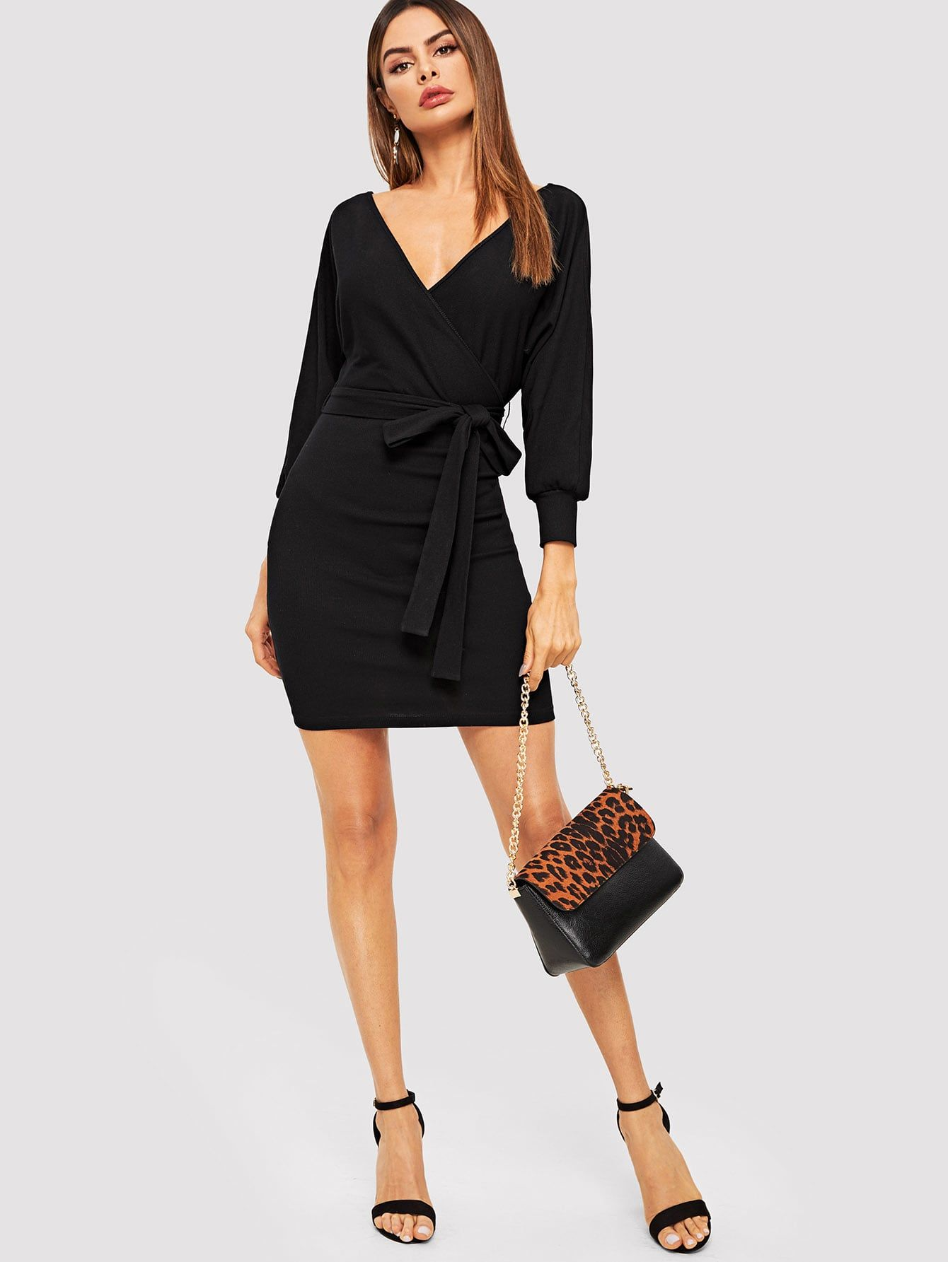 c212bb75c8d9 Elegant Wrap and Backless and Belted and Rib-Knit Plain Bodycon V Neck Long  Sleeve Natural Black Short Length Batwing Sleeve Self Belted Wrap Dress