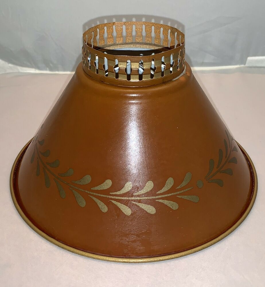 Vintage Metal Tole Table Lamp Shade Rust Gold Mid Century Frenchcountryprovincial Lamp Shade Table Lamp Shades Vintage Metal