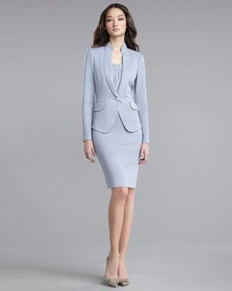 St. John - Shop Online - Evening - Shimmer Boucle Jacket, Crinkle Georgette Tank & Pencil Skirt