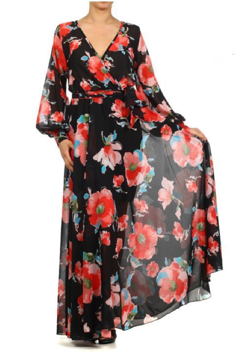 1daed39224f BOLD FLORAL FULL SWEEP Chiffon MAXI DRESS Gown SHEER Long Skirt vtg Cruise  Party  tamarstreasures  Maxi  Cocktail