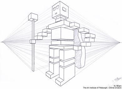 2 Point Perspective Drawing of robot