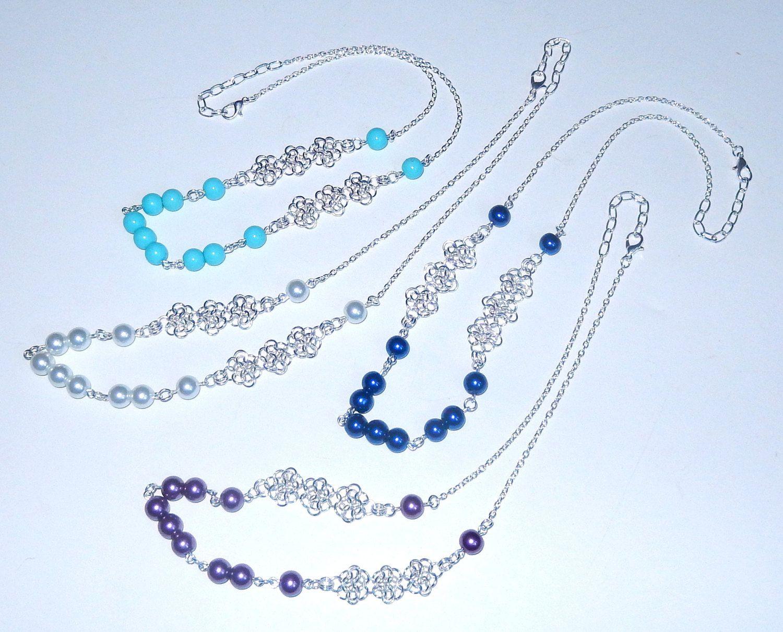 Collar de perlas collar de chainmaille blanco por NezDesigns