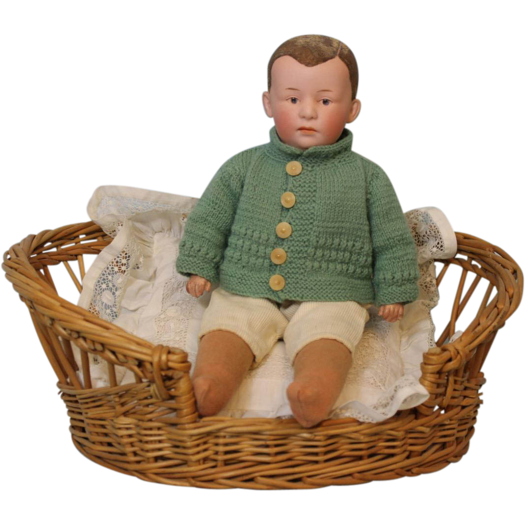 12.5 Antique Gebruder Heubach c1910 Character Doll Flocked Hair, Intaglio eyes