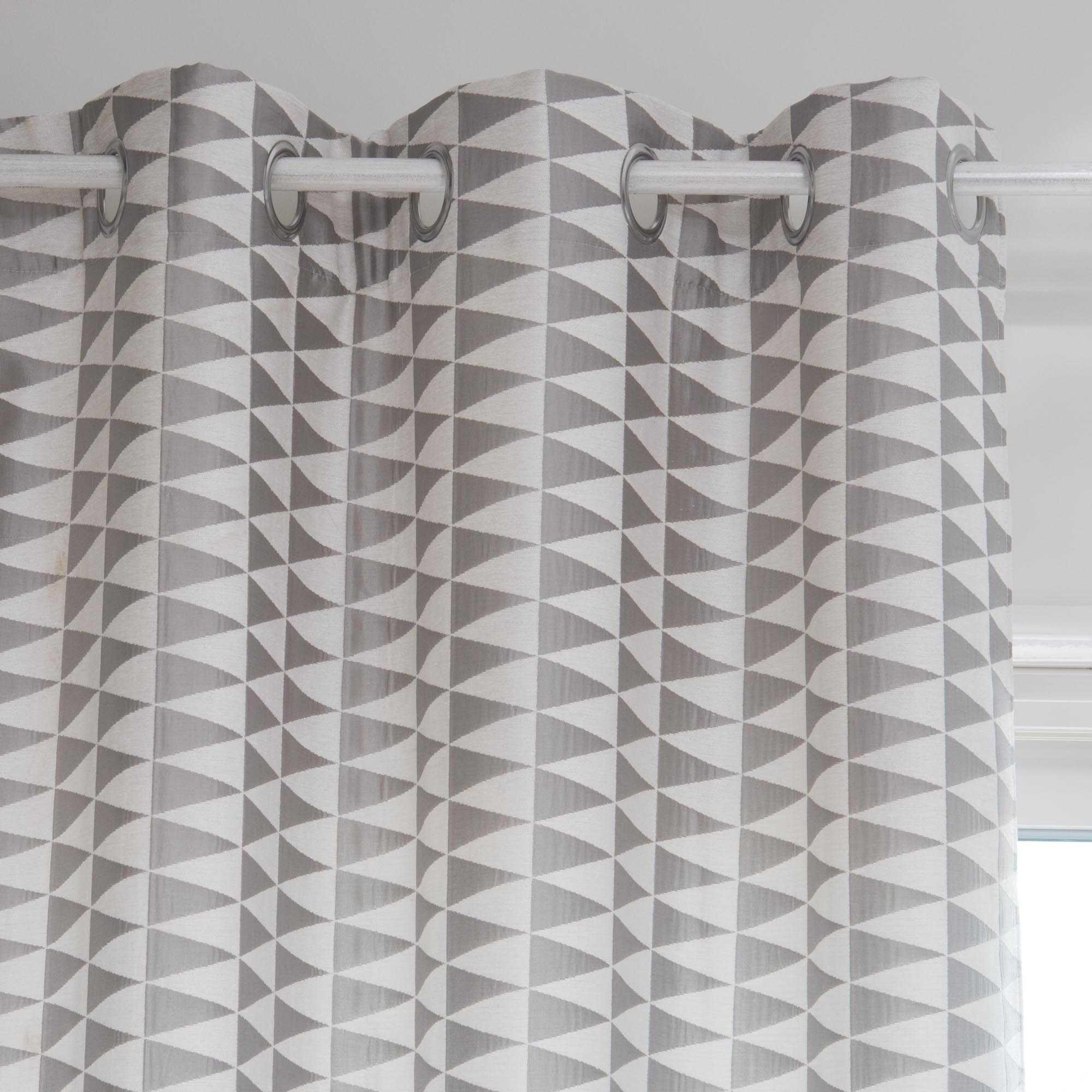 Rideau A œillets Motifs Triangles Gris Blancs 130 X 270 Cm Trix Maisons Du Monde Rideaux Oeillets Rideaux Gris Blanc
