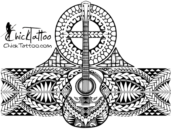 Polynesian Style Guitar Cross ½ Sleeve My ChickTattoo