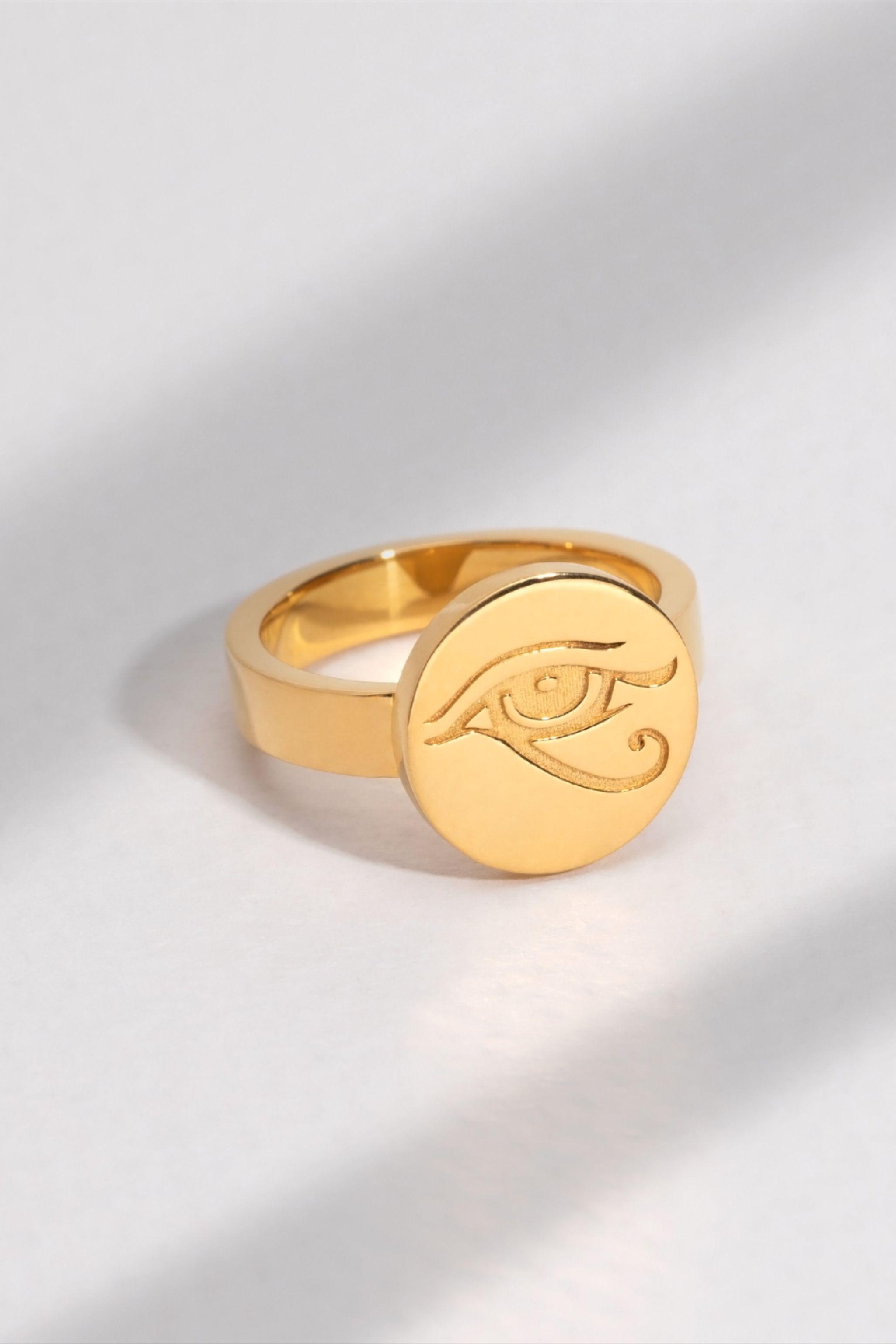 Horus Eye Signet Ring Signet Ring Gold Signet Ring Signet