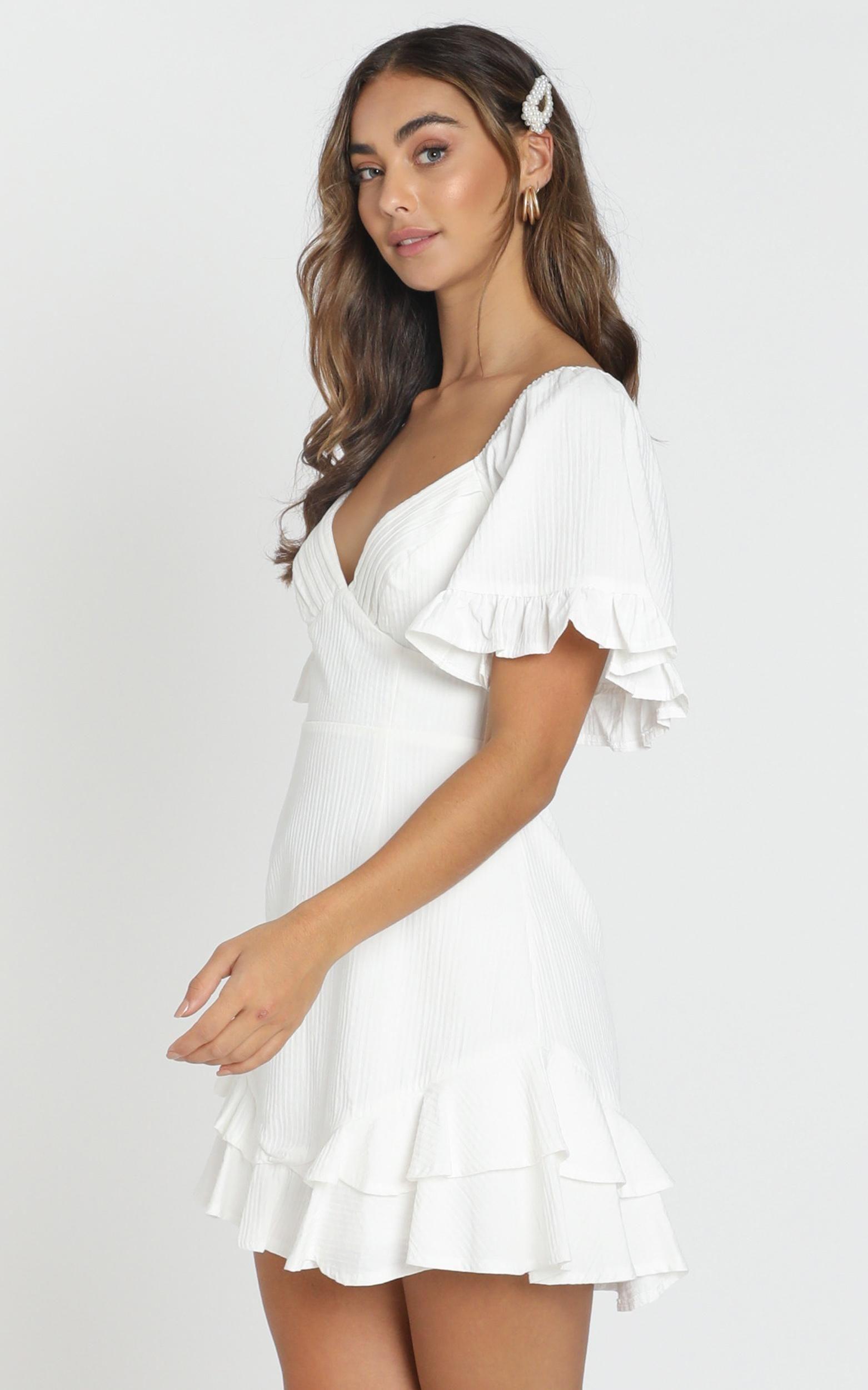 Hanna Mini Dress In White Showpo Cute White Dress White Short Dress Casual White Dress [ 2500 x 1562 Pixel ]