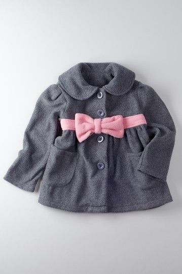 If its a girl: This gray Peacoat with Pink Bow is pretty much one ...