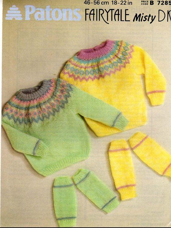 Vintage PDF Childrens Knitting Pattern - Patons 7285 - sweater leg ...