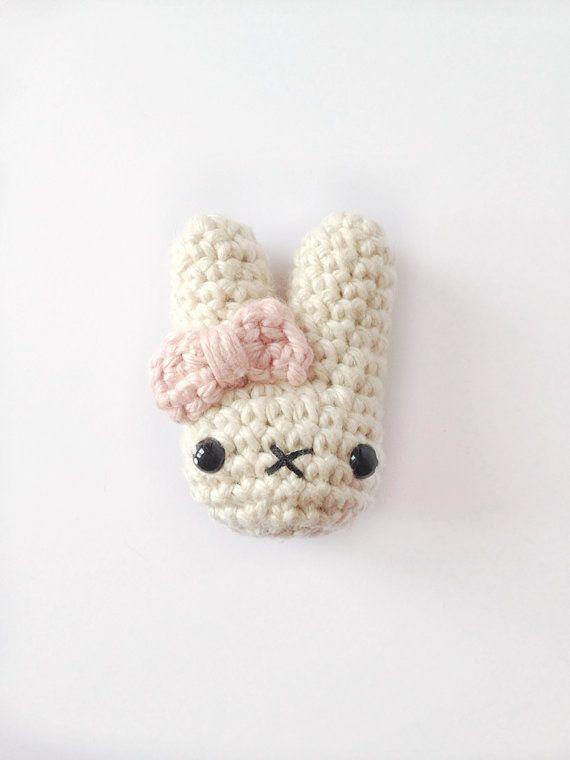 Crocheted Bunny Broochpin Crochet Brooch Crochet Pin Crochet