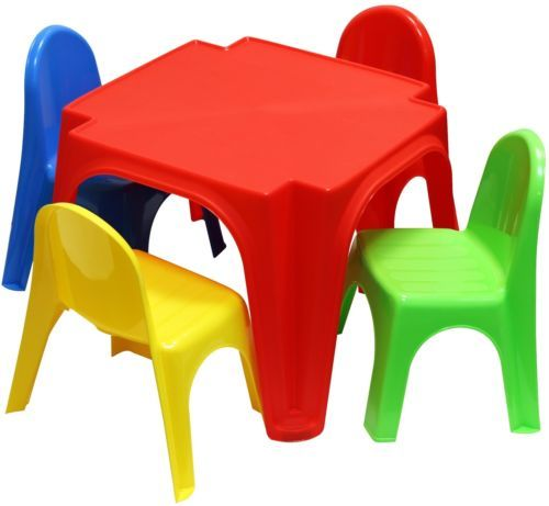 Kids Table Chairs Plastic Set Children Chair Play Activity