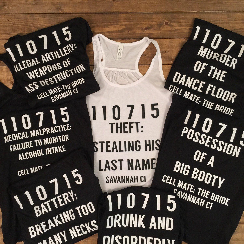 Funny Wedding Gifts For Bride: Mug Shot Shirts, Criminal Bachelorette, Criminal