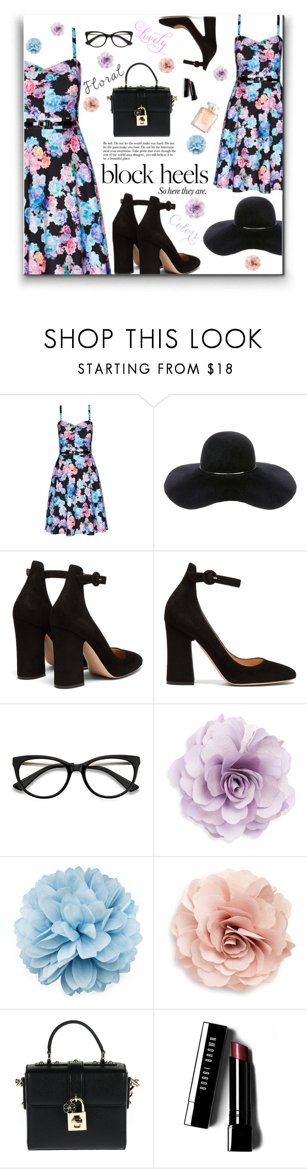 """block heels & floral"" by nineseventyseven ❤ liked on Polyvore featuring City Chic, Eugenia Kim, Gianvito Rossi, Cara, Gucci, Dolce&Gabbana, Bobbi Brown Cosmetics, floraldress and blockheels"