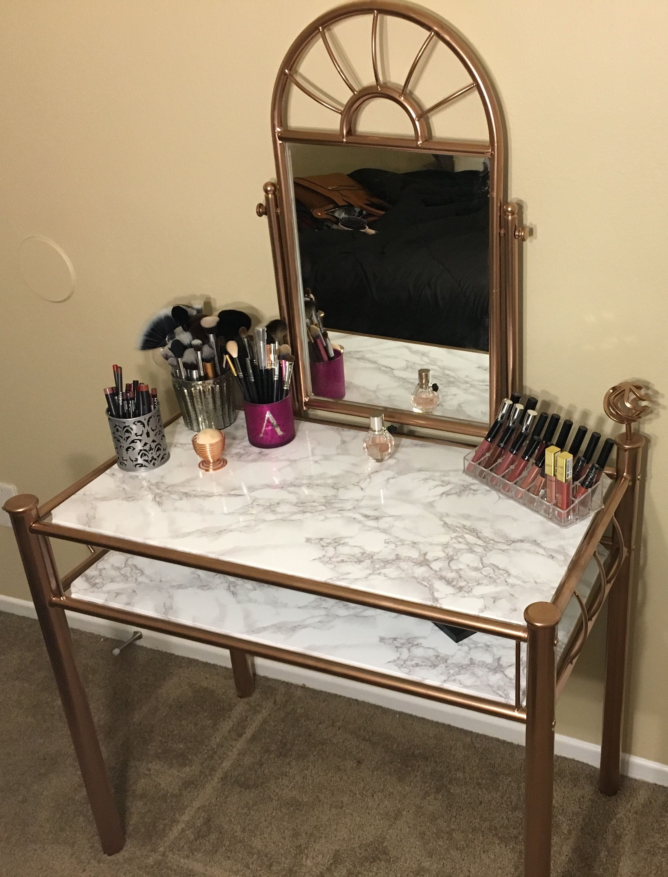 My DIY vanity! Marble & Rose Gold 👌🏼 in 2019 Diy vanity