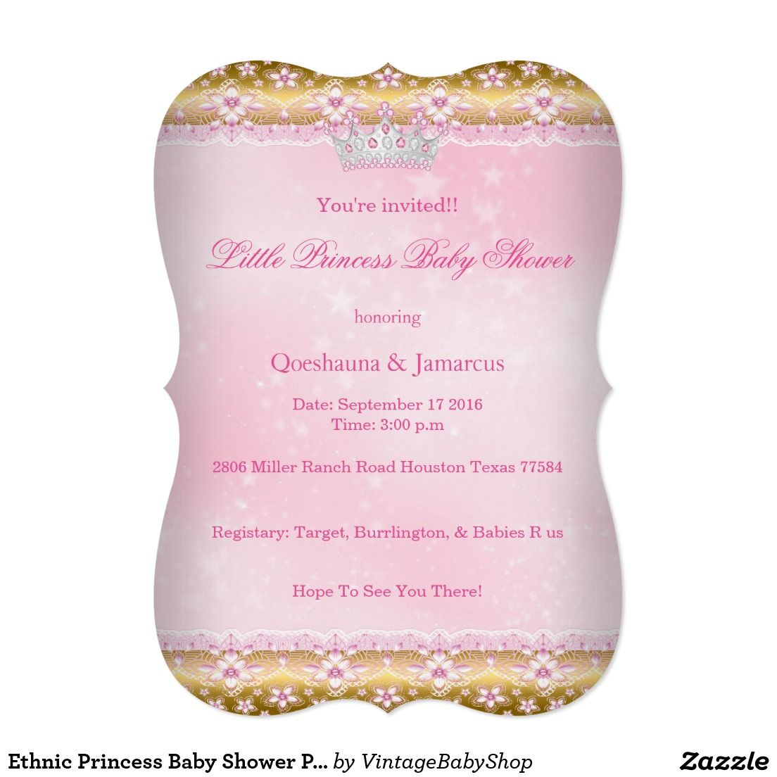ethnic princess baby shower pink tutu gold tiara a card | pink, Baby shower invitations