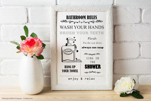 Bathroom Rules, Poster zum Selbstdrucken Products, Bathroom rules
