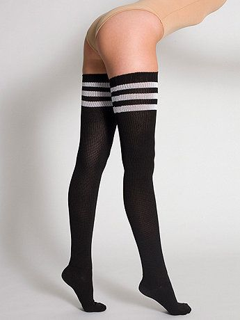 a9f54d170e8deb We've taken our sporty socks thigh high for a sexier look. Wear them with  panties, skirts and shorts or layer for warmth under pants.