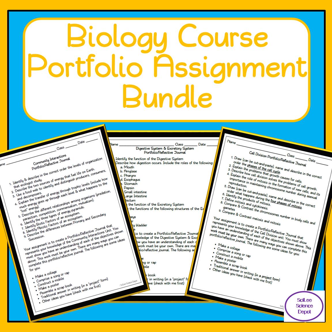 Biology Course Portfolio Assignment Bundle 15 Separate Unit Portfolios Biology Course Education Lesson Plans Middle School Science Resources [ 1152 x 1152 Pixel ]