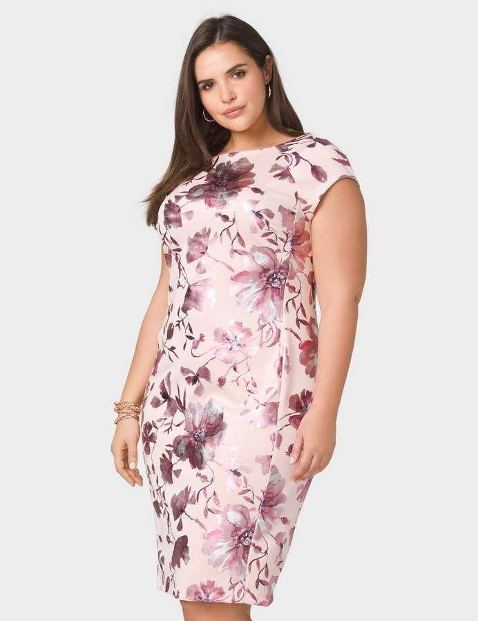 d737d6eaa9e dressbarn Plus Size Metallic Floral Scuba Dress