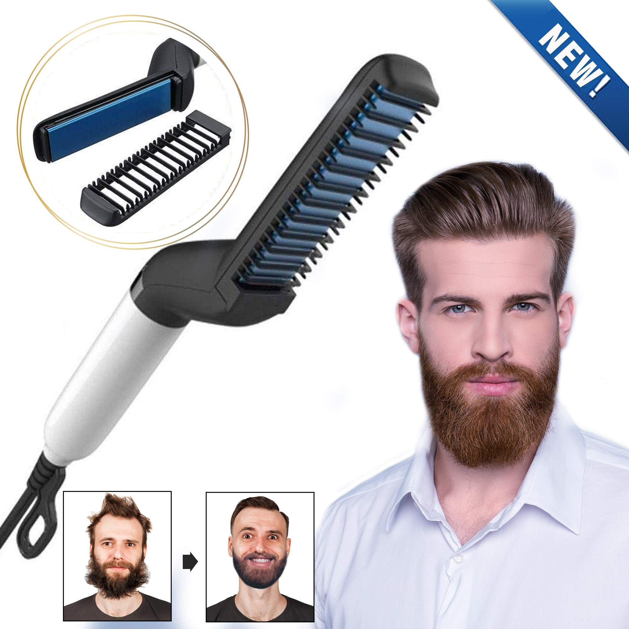Cutie Academy Electric Beard Straightener For Men Professional Quick Styling Comb For Friz Beard Straightening Straightening Curly Hair Hair And Beard Styles