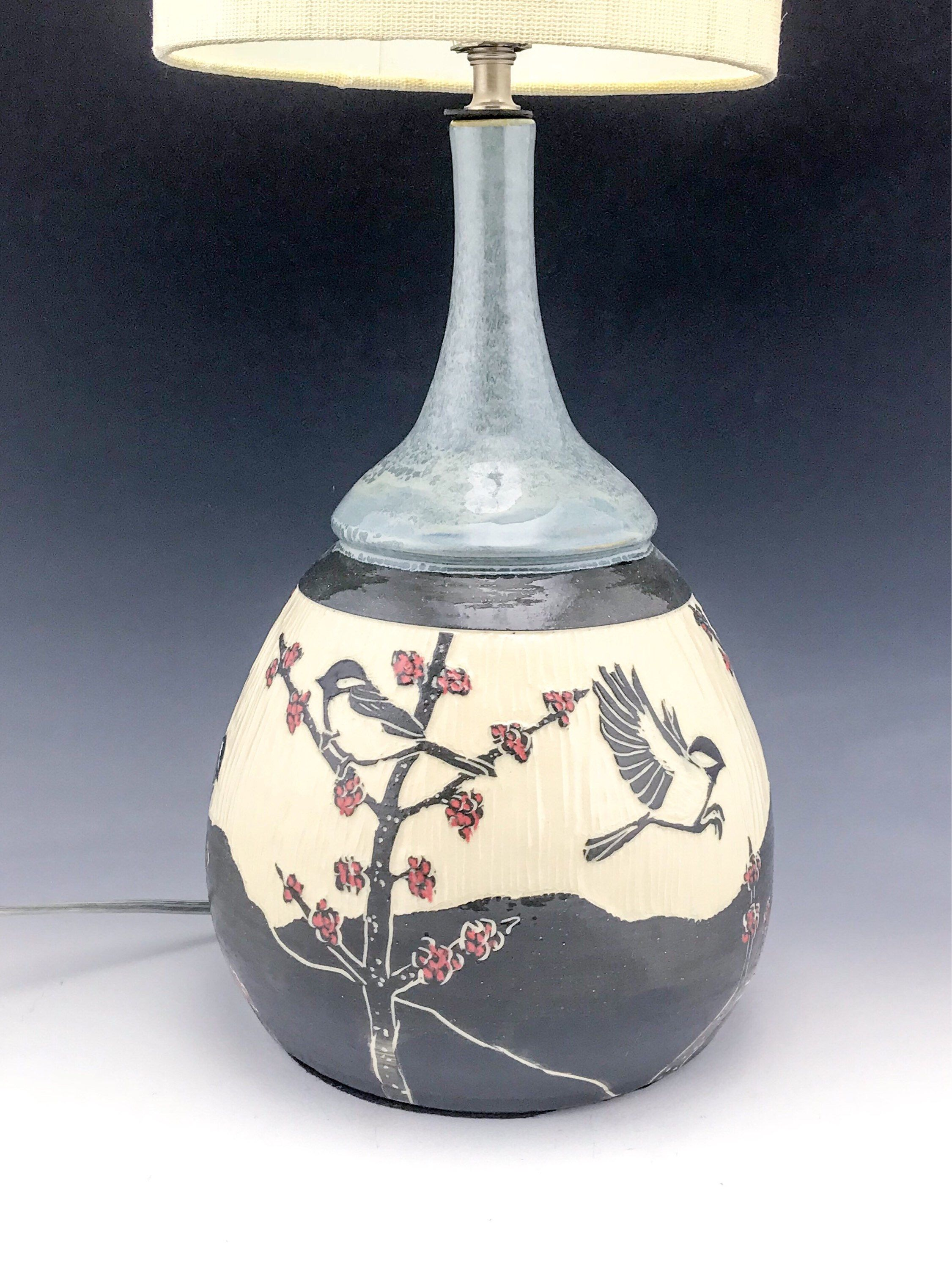 Sgraffito Ceramic Adee Lamp Base In Gray With Red Maple Buds By N3pottery On Etsy Https